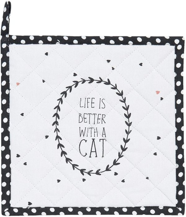 "Clayre & Eef Topflappen ""LIFE IS BETTER WITH A CAT"""