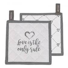 "Clayre & Eef Topflappen ""love is the only rule"""